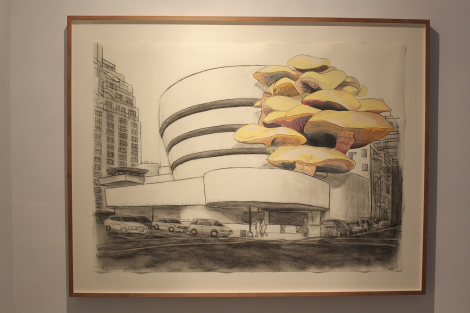 Guggenheim, 2013. Barra grasa, carboncillo y témpera sobre papel Hahnemühle. 70 x 100 cm